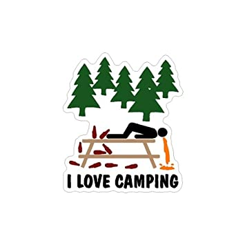 I Love Camping Funny Car Decal Window Sticker Graphic