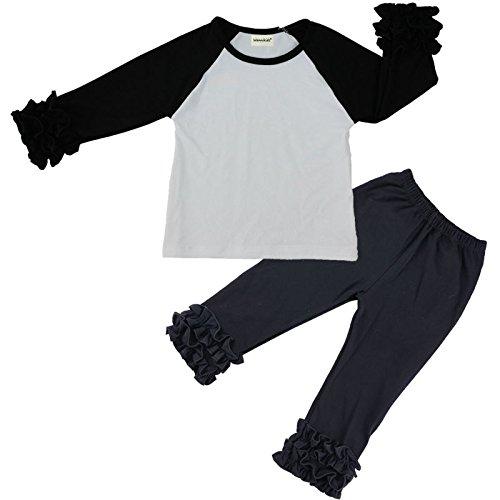 Wennikids Children Baby Cotton Icing Ruffle Shirt Ruffle Sleeved Raglan Pants Set X-Large Black/White