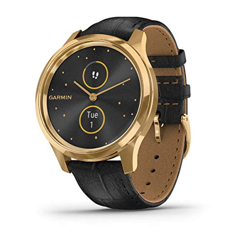 Garmin vívomove Luxe, Hybrid Smartwatch with Real Watch Hands and Hidden Color Touchscreen Displays, Gold with Black Leather Band