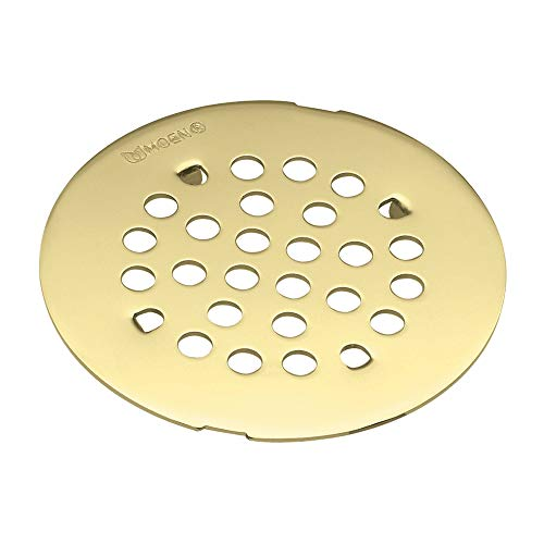 (MOEN 101663P Collection 4-1/4-Inch Snap-In Shower Drain Cover, Polished Brass)