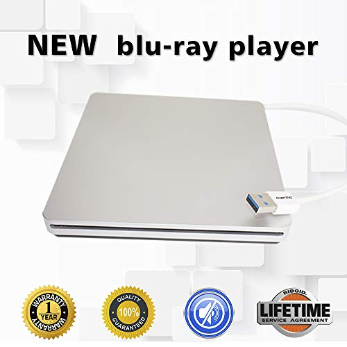 External Blu-ray DVD Drive BD-ROM 3D Blu-Ray Combo Player USB 3.0 Portable CD/DVD-RW Burner CD-ROM DVD-ROM Rewriter for PC Laptop Desktop Computer