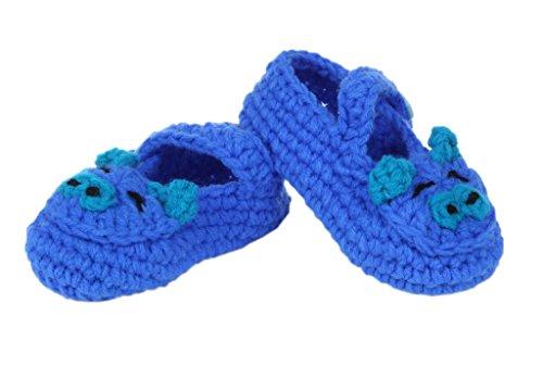 Sapatos De Bebê Sorriso Ykk Tricô Tricô Unisex Sapato Estilo Doce One-size 11 Centímetros De Porco Azul Escuro