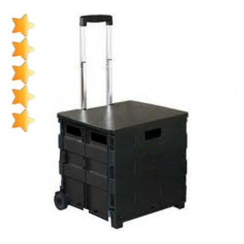 Premium Heavy-Duty Folding Office Cart with Lid -Basket Cart - by Unique Imports Mobile Folding Cart