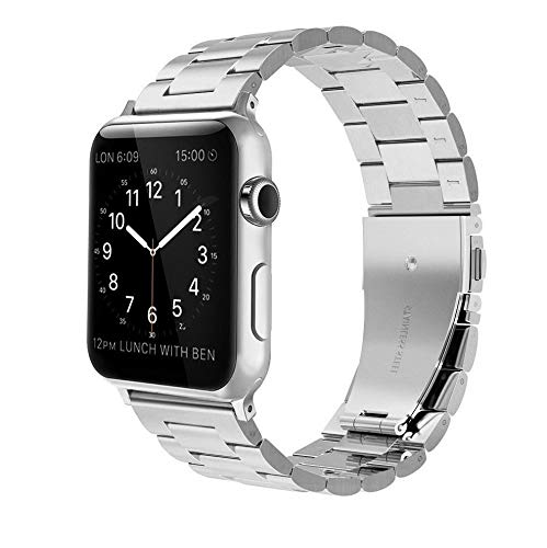 Link Band Plastic (Mobile Advance Metal Link Band Stainless Bracelet for Apple Watch Series 4/3/2/1 (Silver, 38mm/40mm))