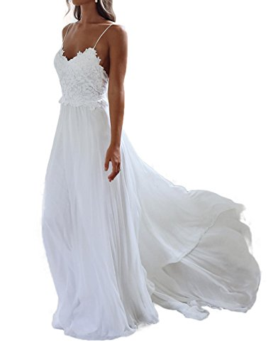 Ruolai Women's Chiffon Beach Wedding Dress Bridal Gown White 10