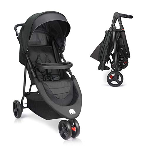 Baby Stroller, Meinkind Foldable Jogger Stroller Lightweight Portable Baby Stroller 3-Wheels Running Stroller with Canopy, 5-Point Safety Belt, Storage Basket, Snack Tray, Up to 44lbs Toddler
