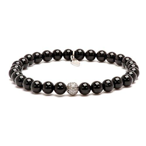 Mens Onyx Diamond Sterling Silver Bead Stretch Bracelet (White) by Asortis