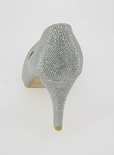Boutique-Magique Glitzerschuh Damen Abendtasche, Hochzeit glitzernden–Produkt Gespeichert und verschickt Schnell seit Frankreich Silbergrau