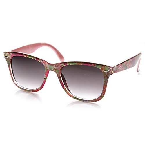 zeroUV - Flower Print Floral Translucent Womens Horn Rimmed Sunglasses (Pink - Sunglasses Flowers