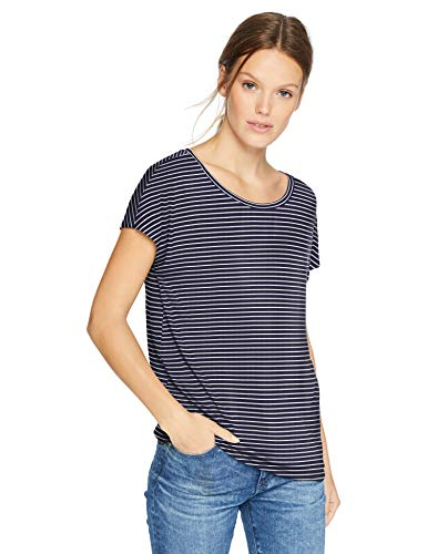 (Daily Ritual Women's Jersey Short-Sleeve Boat Neck Shirt, Navy-White Stripe, Large)