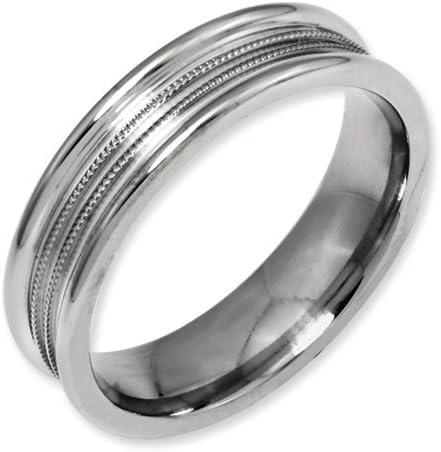 Bridal Titanium Polished Grooved Ring