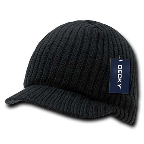 Decky Knit Visor Beanie Campus Jeep Cap Black