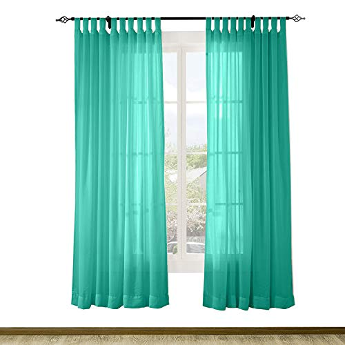 1970s Sheer Semi - Macochico Outdoor Indoor Semi Sheer Curtains Solid Color Windproof Privacy Protection Tab Top Voile Tulle Draperies for Patio Garden Backyard Gazebo Porch Peacock 52W x 84L (1 Panel)
