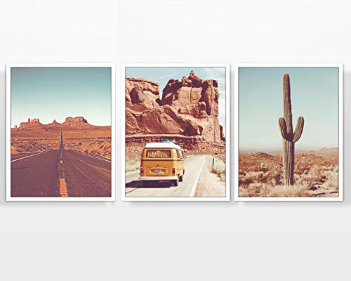 Vintage Desert Photography prints, Set of 3, UNFRAMED, Classic Van, Cactus, Route 66 Road Wall Art Decor Poster Sign, 8x10 (Desert Classic)