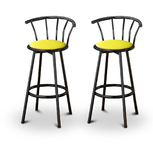 Set of 2 Metal Swivel Barstools (29″ Black Metal) (Yellow Vinyl) Review