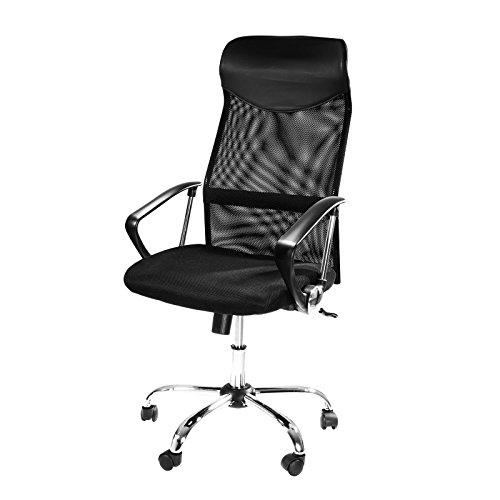 Ergonomischer Design Bürostuhl mit Kopfstütze, Netzrücken, Wippfunktion & Armlehne