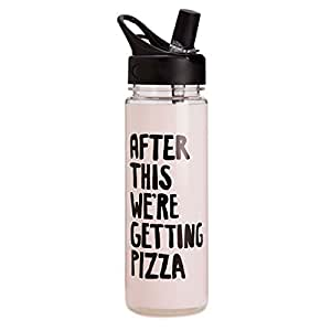 Ban.do Women's Work It Out Water Bottle with Straw, 24 Ounces, After This We're Getting Pizza