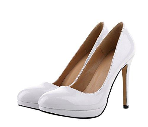 Women's Classic Fashion Round Toe Slip On High Heel Court Dress Pumps Stiletto New White Patent PU hxIU3yiGnL