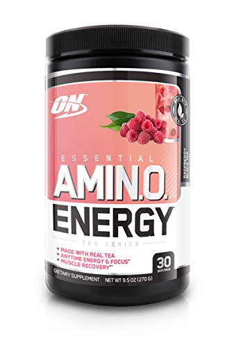 (OPTIMUM NUTRITION Essential Amino Energy, Raspberry Black Tea, Preworkout and Essential Amino Acids with Green Tea and Green Coffee Extract, 30 Servings)