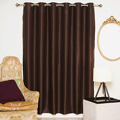 Blackout Curtain Chocolate Wide Width Antique Brass Grommet Top Thermal Insulated 80 Inch Wide by 84 Inch Long Panel