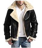 Men's Full Fur Classy Real Sheepskin Removable Hoodie B3 Black Leather Bomber Jacket