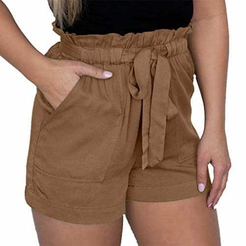 Cotton Shorts for Women Hessimy Women's Drawstring Elastic Waist Casual Comfy Cotton Linen Beach Shorts - Rugby Stretch Cotton