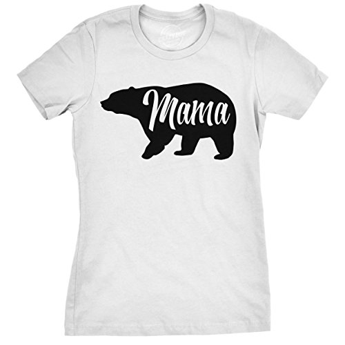 Womens Mama Bear Funny T Shirt for Moms Gift Idea Novelty Forest Animal Tee for Ladies (White) -M