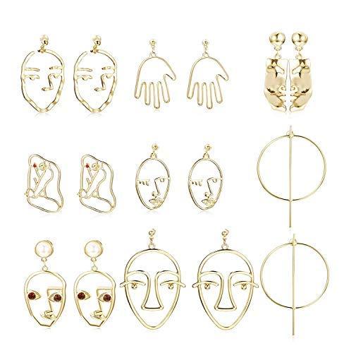 - Hanpabum Face Shaped Drop Dangle Stud Earrings for Women Statement Earrings Dangle Hollow Out Punk Style (8PAIRS)
