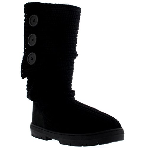 Botas De Nieve Para Mujer Nylon Corto Invierno Nieve Lluvia Cálido Botas Impermeables Negro De Punto