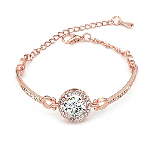 elets Link, Zircon, Rose Gold Color, with 6cm Extension Chain Adjustable for Different Wrist Size ()