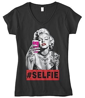 Cybertela Women's Marilyn Monroe Selfie Fitted V-neck T-shirt