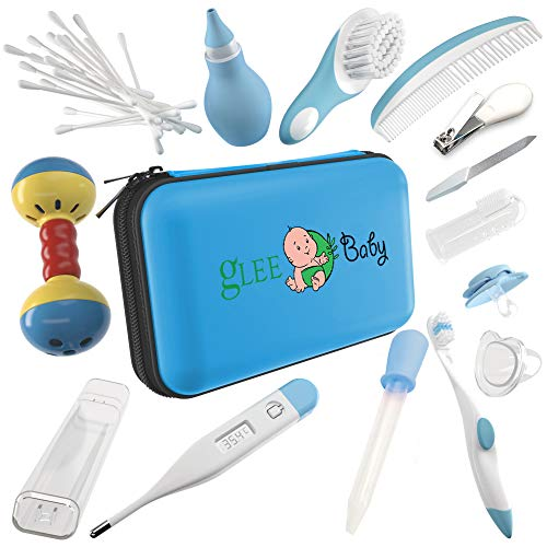 Baby Grooming Kit | Baby Care New Born Healthcare Kits | Nursery Essentials Set for Babies Best Baby Shower and Registry Gifts | Includes Nail Clipper Infant Hair Brush Comb Thermometer| Boys (Blue) from gLEE Baby