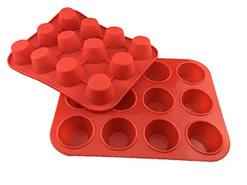 Chef's Entrée Silicone Small Mini Muffin Cupcake Pans - 2 Pack x 12 Muffin Cups Red Cupcake Non-stick Baking Tray - 100% Premium Silicone & BPA Free - Dishwasher Safe & Heat Resistant (Small Mini Toaster compare prices)