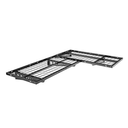 FLEXIMOUNTS 2-Pack 2x4ft Garage Storage Rack Corner Wall Shelf Floating Shelves 24-inch-by-48-inch, Black
