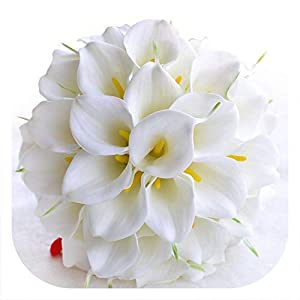 meiguiyuan Beautiful White Yellow Calla Lily Wedding Bouquet Brides Bridesmaid Artificial Flower Bouquet Wedding Bouquet 94