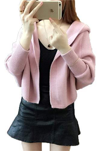 Tempo Maglioni Moda Giacca Forcella Donna Maniche Maglia Lunghe Grazioso Rosa Ragazze Cappotto Elegante Primaverile Aperto Outerwear A Autunno Libero Incappucciato Stlie Relaxed SwdxqwvOT