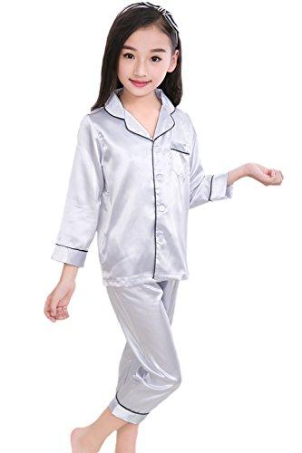 Horcute Pajamas Little Kid Sleepwears Set PJS Clothes Long Sleeve Silver 100# 2-3Y