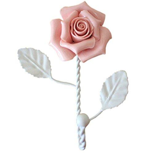 EleCharm Ayygift Ceramic Rose Hook Coat Hat Hanger Curtain Valance Holdback Wall Hook (Pink)