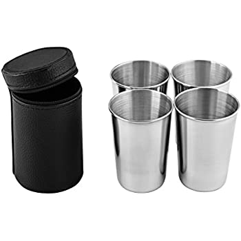 Virgin Forest Premium Stainless Steel Cups 6oz Pint Cup Tumbler (4 Pack) -  Premium Metal Drinking