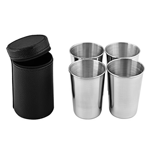 Virgin Forest Premium Stainless Steel Cups 6oz Pint Cup Tumbler (4 Pack) - Premium Metal Drinking Glasses - Stackable Durable ()
