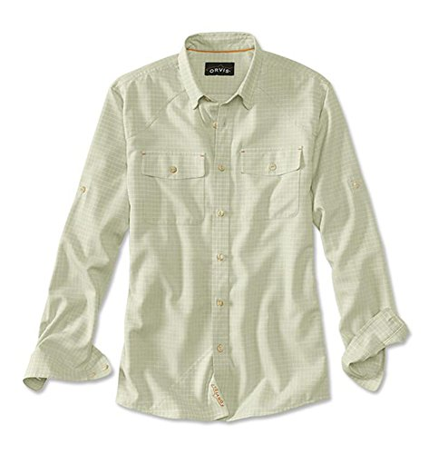 Orvis Men's Clearwater Aerated Chambray Long-Sleeved Shirt, Ivory, Large