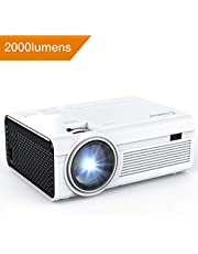 Crosstour Projector, Mini LED Video Projector Home Theater Supporting 1080P 55,000 Hours Lamp Life Compatible with HDMI/USB/SD Card/VGA/AV and iPhone/Android Smartphone/Fire TV Stick