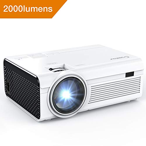 Tv Resolution 1080i (Projector, Mini LED Video Projector 1080P Supported, Crosstour HD Portable Projector with HDMI and AV Cable, Work with TV Box/Fire TV Stick/PC/PS4/HDMI/VGA/TF/AV/USB/Smartphones (P600))