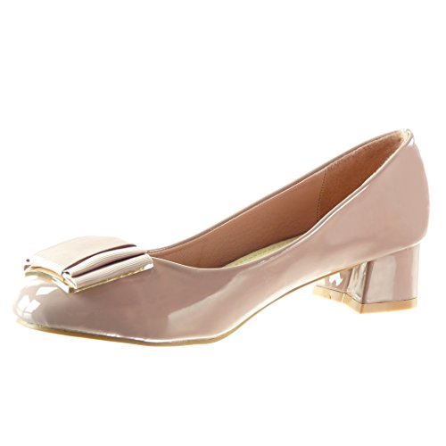 Angkorly - damen Schuhe Pumpe - Slip-On - Dekollete - Knoten - Patent Blockabsatz high heel 4 CM Rosa