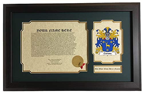 Caruso - Coat of Arms and Last Name History, 14x22 Inches Matted and Framed