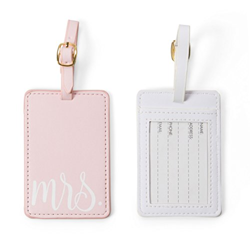 Travel Mr and Mrs Luggage Tags: Cute, Unique Pink and White, Flexible and Sturdy Leather Suitcase Bag Identifiers for Men and Women - Baggage Tag Identification Set of 2 for Cruise or Airplane Travel by Tri-coastal Design (Image #2)