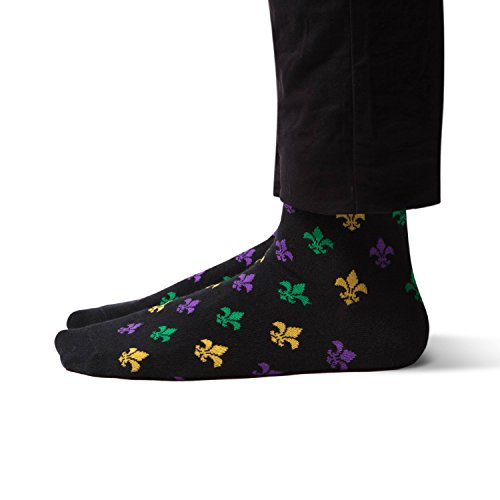 Sheec TrouSox - Reinforced Crew Length Men's Dress Socks - Mardi Gras Fleur-de-lis (Small | 1 Pair)]()