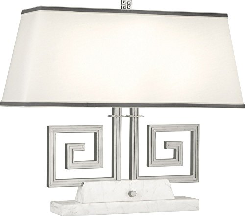 Robert Abbey S441 Jonathan Adler Mykonos - Two Light Table Lamp, Polished Nickel/White Marble Finish with Rectangular Fondine Fabric/Smoke Gray - Rectangular Abbey Robert Lamp Table