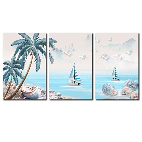 Cairnsi 3 Pieces Canvas Prints Wall Art Paintings Coconut Palm Tree on Sea Beach with Sailboat Modern Pictures Stretched and Framed Ready to Hang for Wall Decor - 12