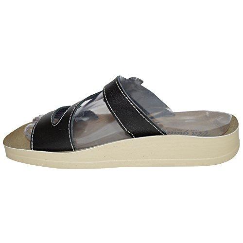 Pour Femmes En Cuir Plat DécontractéÉTé Plage String Barre En T Tongs Taille De Chaussures Sandales Femmes 3-8 UK - Noir Boucle À Enfiler, Femme, EU 36
